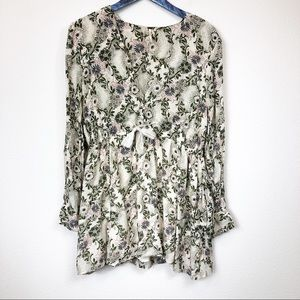 Free People Ivory Green Stealing Fire Tunic Dress